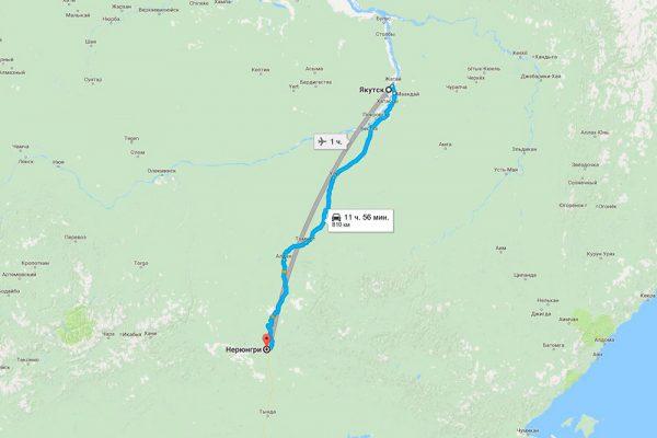 Расстояние до Якутска