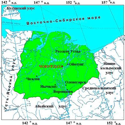 Чокурдах на карте России