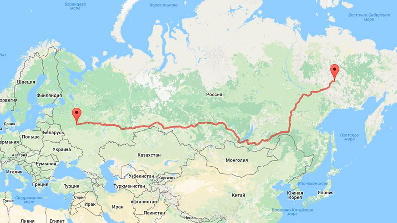 Расстояние Москва - Усть-Нера