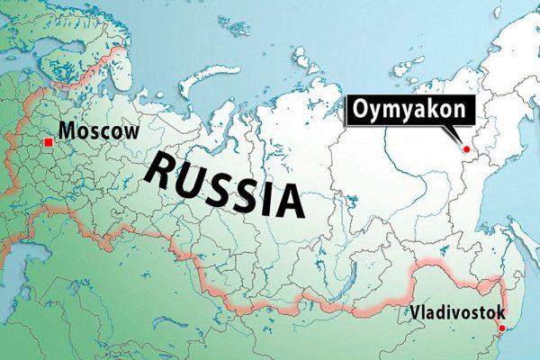 Оймякон на карте России