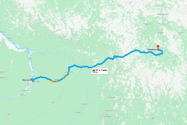 Расстояние от города Якутска до села Оймякон