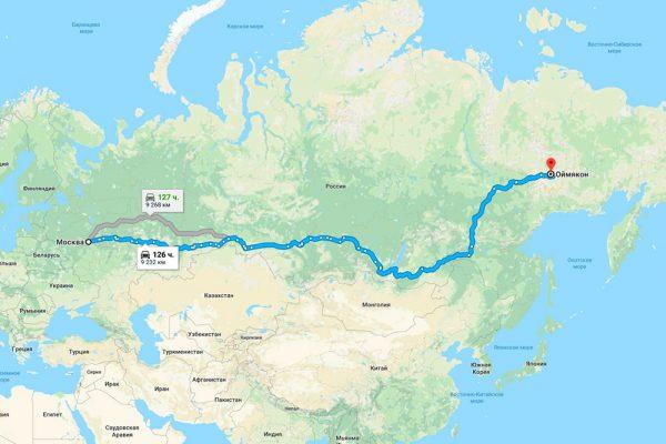Расстояние от Москвы до Оймякона